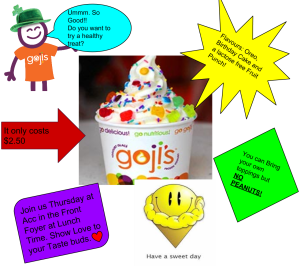 Goji Frozen Yogurt Flier.