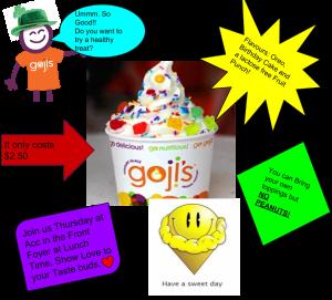 Goji Frozen Yogurt Flier.